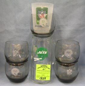 Jets And Giants Football Drinking Glasses