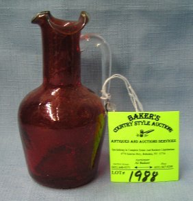 Hand Blown Red To Clear Crackle Glass Miniature Pitcher