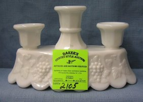 Milk Glass Grape Patterned 3 Tier Candle Holder