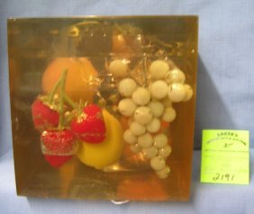 Large Fruit Decorated Lucite Paperweight