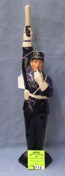 Antique Cobalt Blue Figural Policeman Decanter