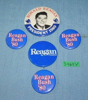 R. Reagan And George Bush Political Buttons