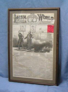 Early Irish World Framed Newspaper Dated 1874