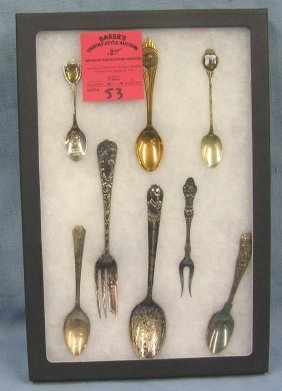 Silver Plated Souvenir Spoons And Forks