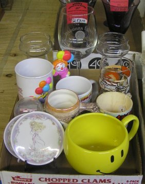 Box Of Character Glasses, Mugs And Collectibles
