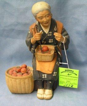 Japanese Fruit Vendor Figurine All Hand Painted