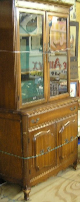 Vintage 1950's Maple China Cabinet