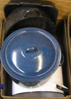 Large Box Of Antique Enamelware