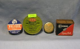 Group Of Four Vintage Tin Pellet Containers