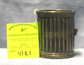 Antique Ash Bucket Marked Ashes