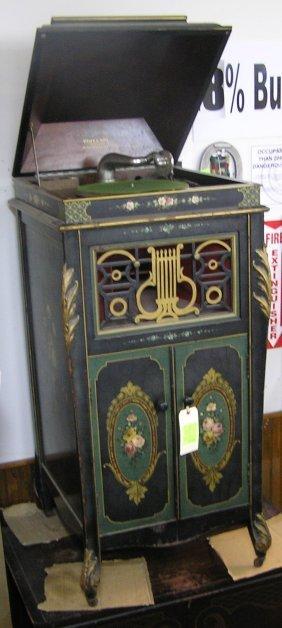 Antique Floral Paint Decorated Phonograph
