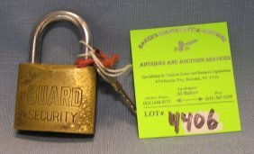Vintage Security Lock Brass And Steel By Guard