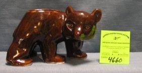Brown Glazed Over Bear Vase Circa 1930's