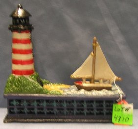 Sail Boat And Lighthouse Mechanical Bank