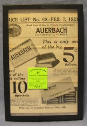 Early Auerbach Chocolates And Candies Advertising