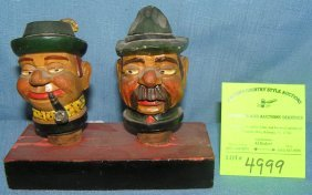 Pair Of Antique Figural Liquor Bottle Stoppers
