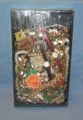 Large Tray Lot Of Vintage Costume Jewelry