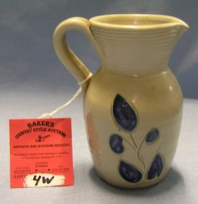 Blue Decorated Earthenware Pitcher