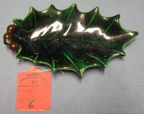 Vintage 1950's Leaf Shaped Art Pottery Candy Dish