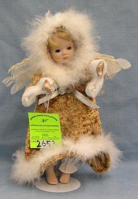 Vintage Porcelain Wind Up Mechanical Angel Doll