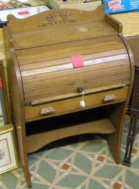 Antique Oak Child's Roll Top Desk