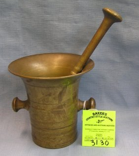 Solid Brass Antique Mortar And Pestle