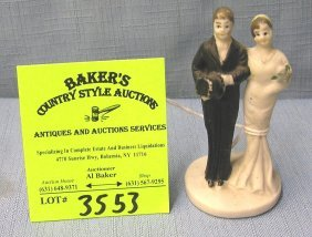 Vintage Bisque Bride And Groom Figurine