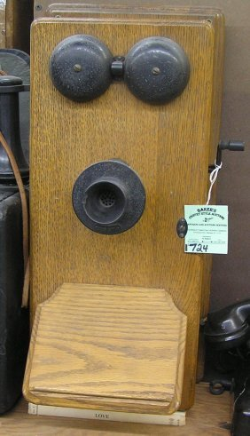 Antique Oak Wall Mount Telephone
