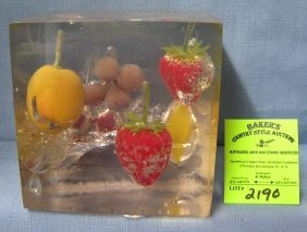 Fruit Decorated Lucite Paperweight