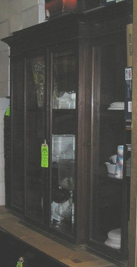Large Cherry Mahogany Four Door Storage Cabinet