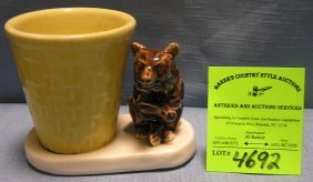 Early Bear And Basket Decorated Planter