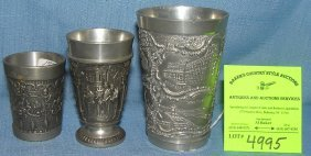 Group Of Three Vintage Souvenir Pewter Drink Cups