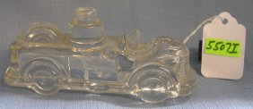 Early Fire Truck Glass Candy Container