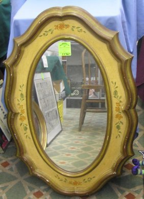 Antique Hand Painted Folk Art Mirror