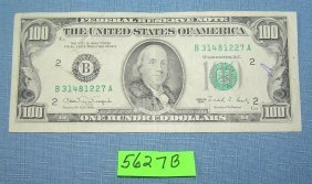 Vintage Old Style Small Portrait Us $100 Bill