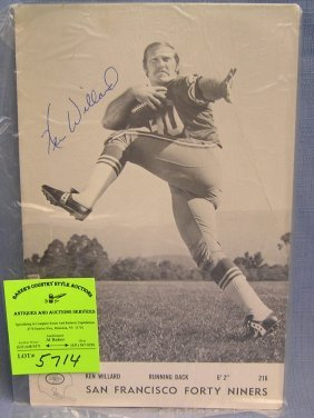 Vintage Ken Willard San Autographed Football Photo
