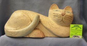 Hand Painted And Hand Carved Decorative Cat