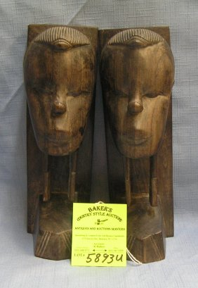 Pair Of Teakwood Hand Carved Figural Bookends