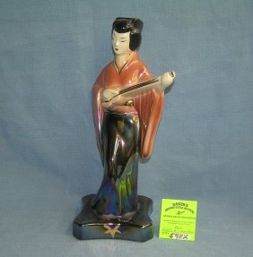 Oriental Female Stringed Instrument Playing Figure