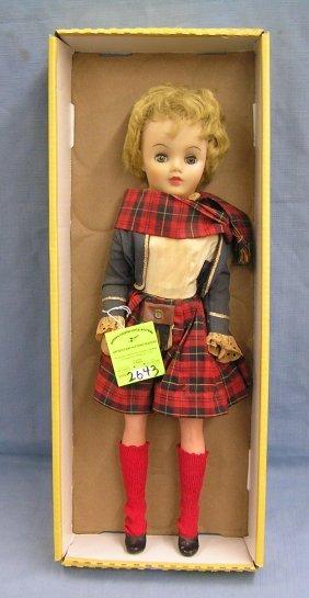 Vintage Vinyl Plaid Stamp Girl Doll