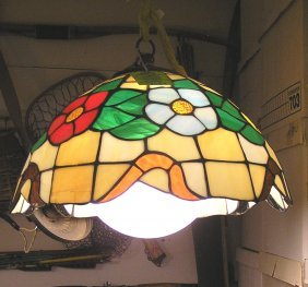 Vintage Leaded Stained Glass Chandelier