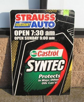 Vintage Strauss Automotive Center Advertising Sign