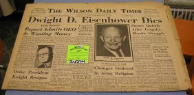 Vintage Wilson Daily Times Newspaper Dated 1969