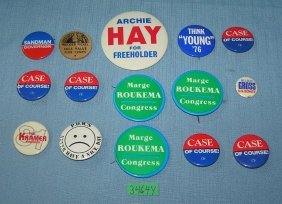 Collection Of Vintage Local Political Buttons