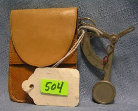 Antique Miniature Hanging Scale With Pouch