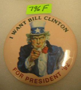 Uncle Sam For Bill Clinton Campaign Button