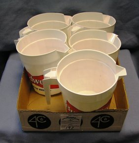 Box Of Budweiser Advertising Beer Pitchers