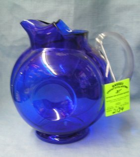 Vintage Cobalt Blue Glass Pitcher