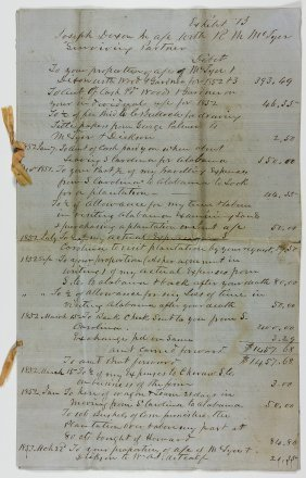 Cotton Plantation Account Statement With Slave Entries