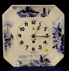 Gustav Becker Delft Decorated Plate Clock NR